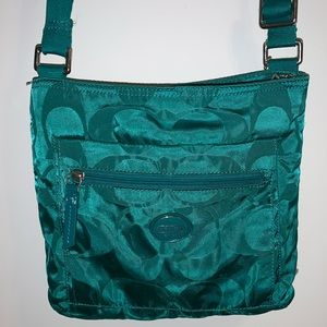 Coach Signature Nylon Crossbody Bag in Teal